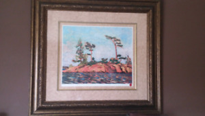 Two Tom Thompson Prints. Matted Art Prints.  Framed Pictures