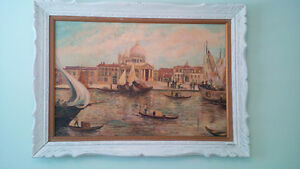 MENDLY OIL HAND PAINTING OF VENICE canal,buildings and botes, si