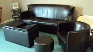 Espresso Brown Faux Leather living room set, sofa, chair & more