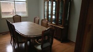 solid oak dining room set with hutch Cambridge Kitchener Area image 1