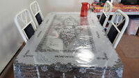 Glass Top Dining Table with Wooden Base and 4 chairs