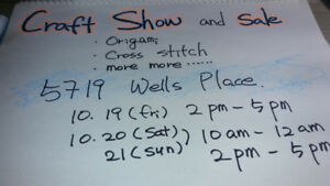 craft show and sale( origami, cross stitch, etc....)