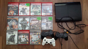 PS3 WITH 3 CONTROLLERS 11 MINT GAMES
