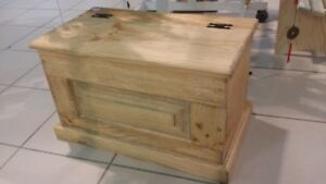 Small Pine Chest With Pannel Front And Back