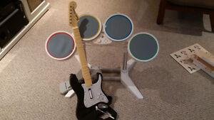 Wii Rockband Drums w/Working Guitar