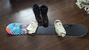 Snowboard, boots, and bindings