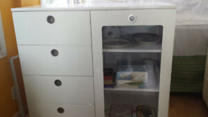 White Display Cabinet with Drawers and Glass Window Door