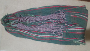 Hammock woven cotton green red checked