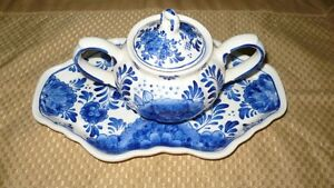 "VINTAGE GORGEOUS ""BLUE CROWN DELFT BLUE SUGAR BOWL, LID & TRAY"""