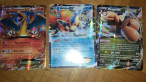 3 grandes cartes pokemon EX