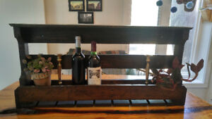 Wine rack, Vintage lamp and stools, industrial chandelier,