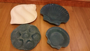 Beautiful nautical / shell ceramic serving dishes