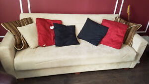 ** leather recliner / futon couch **