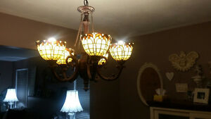 2 stained glass ceiling lights