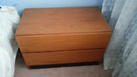 Genuine Danish Teak dresser / night table commode 2 drwrs