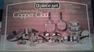 13 PC STAINLESS STEEL COPPER CLAD KITCHEN WARE