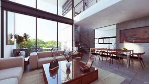 Modern apartments with minimalist design surrounded by vegetatio