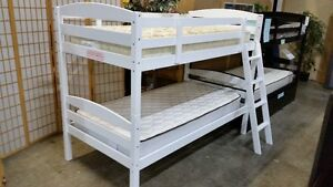 Solid hardwood single single bunk bed frame, espresso or white