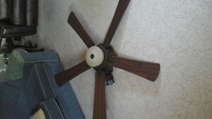 Ceiling fan - bronze and mahogany-like wood