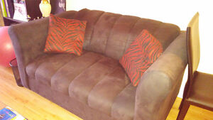 Black, suede couch