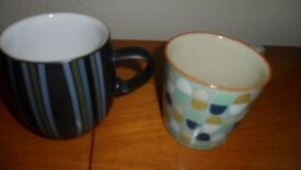 Denby Jet Large Striped Mug and Large Heritage Accent Mug - Pristine