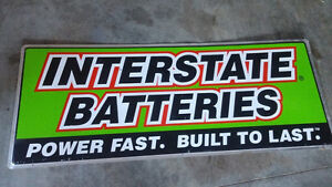 Double Sided Pennzoil Sign & Interstate Battery Sign