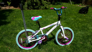 18 inch Girl's Bike with Balance Buddy arm.