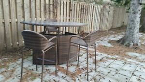 resin wicker outdoor bar set with glass top and 3 chairs