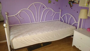 Single bed, mattress, night side table, shelf and lamp