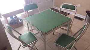 Vintage Child's Metal Folding Table and 4 chairs