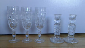 Set of pinwheel candle holder and 3 vine glasses