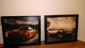 2 Black Framed Car Paintings