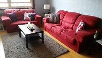 Faux Suede Red Sofa Set !!