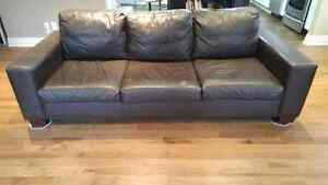 Chocolate brown genuine leather couch