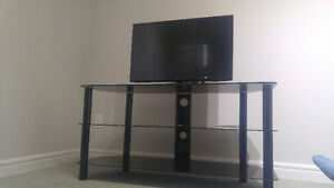 Black glass tv stand 80$
