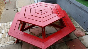 Red Six Sided Picnic Table