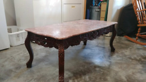 Cherry Wood Marble Coffee Table with End Tables