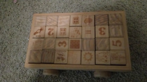 Wood blocks on wagon  alphabet, numbers and pictures