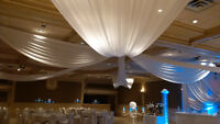 banquet halls decor by olivia decorations, chair covers $1 each