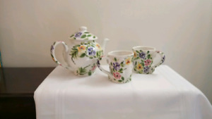 Extra Large Rose Prairie Hand Painted Teapot with Two Matching M