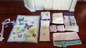 Baby girl Bed set and accessories/mobile.