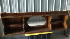 Solid wood bookcase headboard with mirror