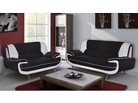 BLACK, RED, BROWN BRAND NEW 3 AND 2 SEATER CAROL LEATHER SOFA SUITE CORNER