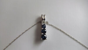 Sapphire and Diamond Pendant Necklace Kitchener / Waterloo Kitchener Area image 1