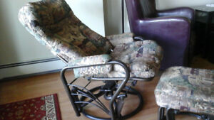 Glider Rocker Recliner chair with footstool