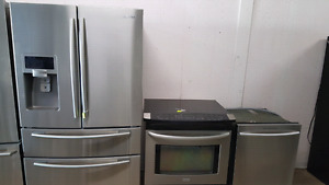 Samsung fridge and dishwasher and Kenmore slide in stove