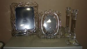 SET OF (2) - CRYSTAL PICTURE FRAMES AND (2) MATCHING CANDLE HOLD