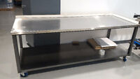 Steel table with stainless steel top 91 x 34