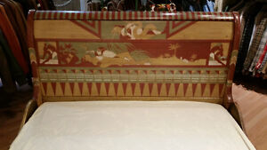 Vintage Sleigh Bed Frame Double Egyptian Motif hand painted Sarnia Sarnia Area image 3