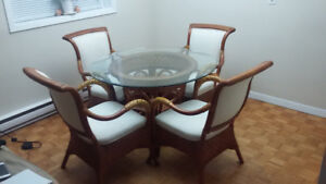 "Ratana 42"" glass table with chairs, dining set, dining table"